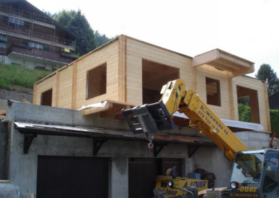 Chalet madrier en construction
